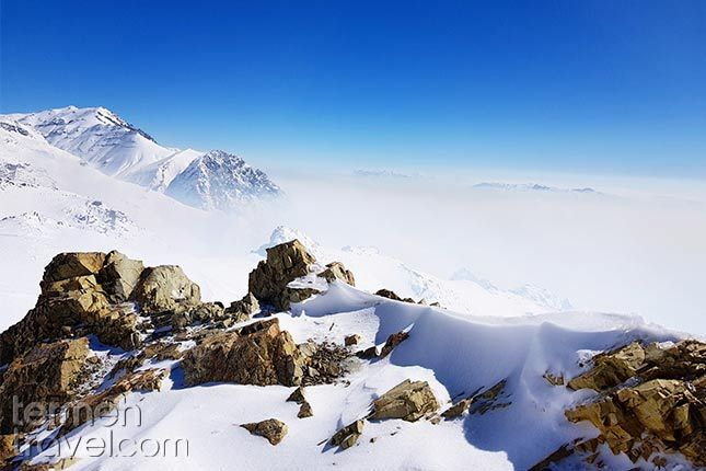 Mountainous Northwest of Iran. Snowy mountains glowing with sunlight.