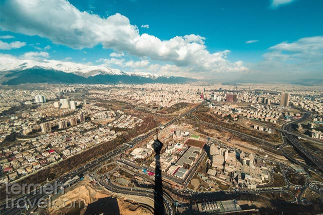Shadow of Milad Tower over Tehran with beautiful clouds