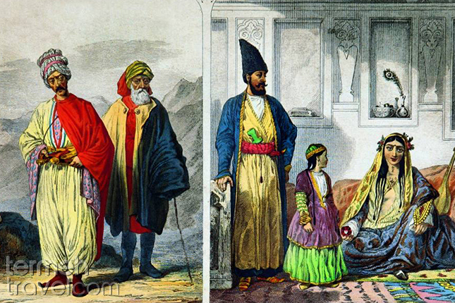18th century iranian traditional clothes in painting