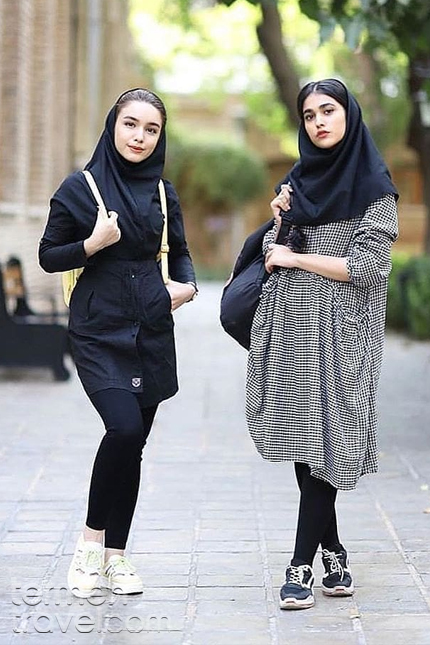 Girl students wearing formal clothes in Iran