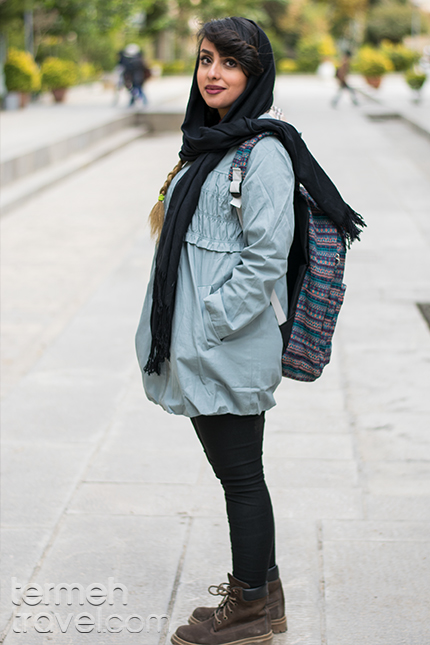 woman wearing winter clothes in Iran