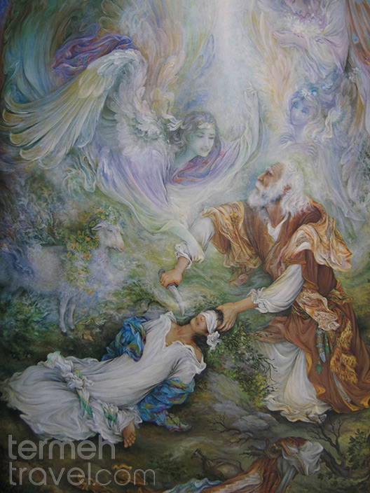 The ultimate test, a painting by the world famous persian artist, Mahmoud Farshchian, of Ibrahim Sacrificing his son, Ishmael