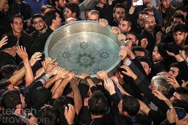 People of Ardabil performing a ritual on the day of Ashura.