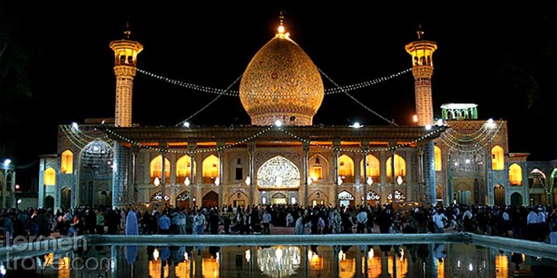 The view of Shah Cheragh holy shrine at night in Shiraz - Termeh Travel