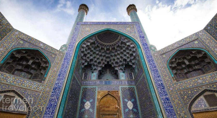 Shah Mosque, the front view from the Naqshe Jahan Square in Isfahan - Termeh Travel