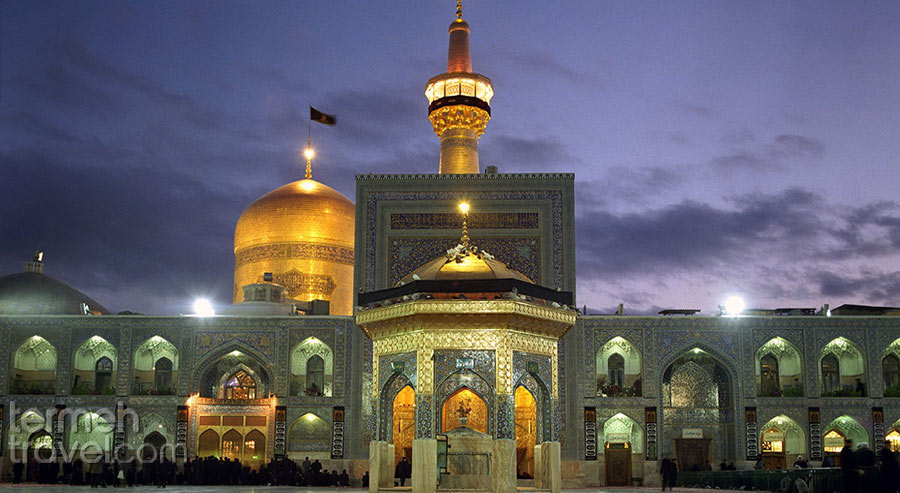 The front view of the golden holy shrine of Imam Reza in Mashhad - Religious Attraction of Iran -Termeh Travel