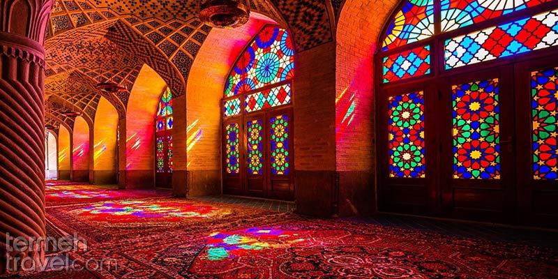 Light beaming through the Pink Mosque of Shiraz - Termeh Travel