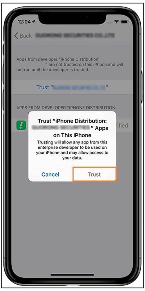 Iphone screen-grab of Snapp Installation settings - Termeh Travel