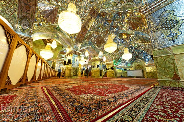 Inside Shah Cheragh holy shrine located in Shiraz, Iran - Termeh Travel