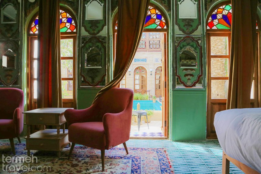 The view of one a room in Darbe Shazdeh Boutique Hotel in Shiraz, Iran