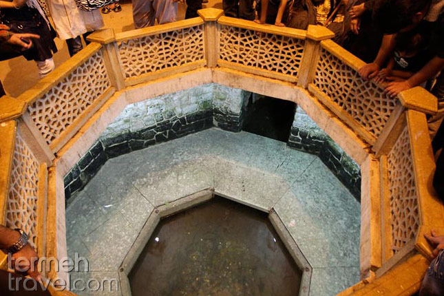 Throwing coin in Saadi tomb's pool- Termeh Travel