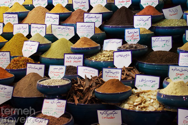 The name of Persian spices in bazaar- Termeh Travel