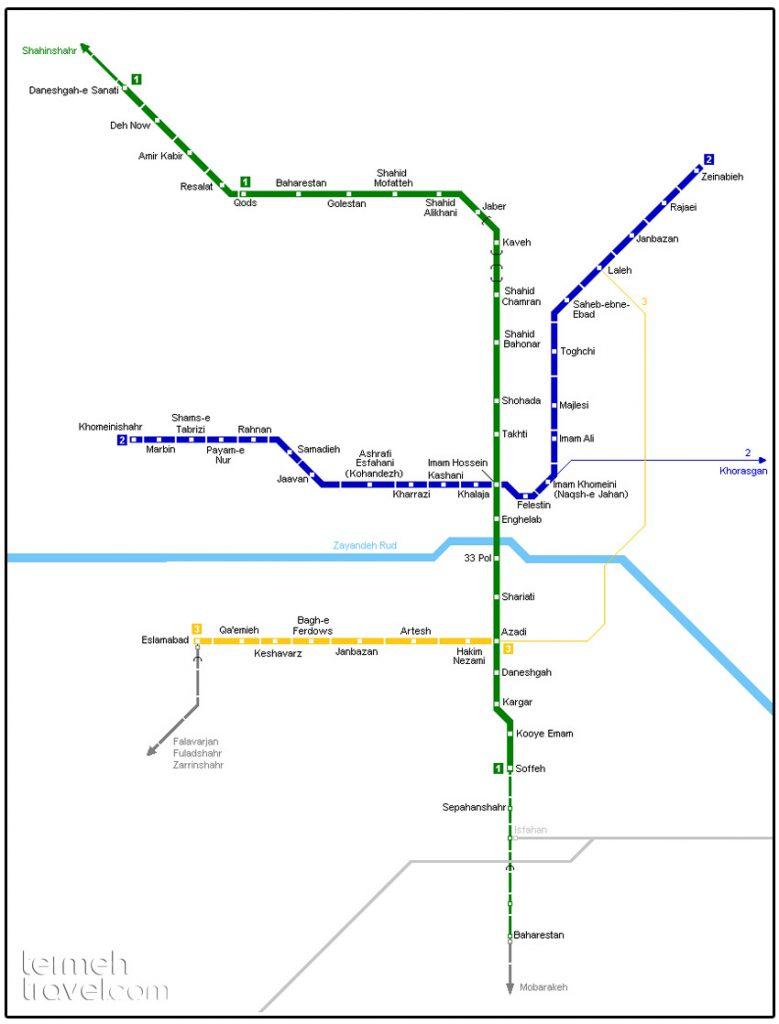 Isfahan Metro's Map- Termeh Travel