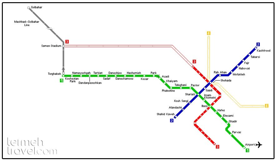 Mashhad Metro's Map- Termeh Travel