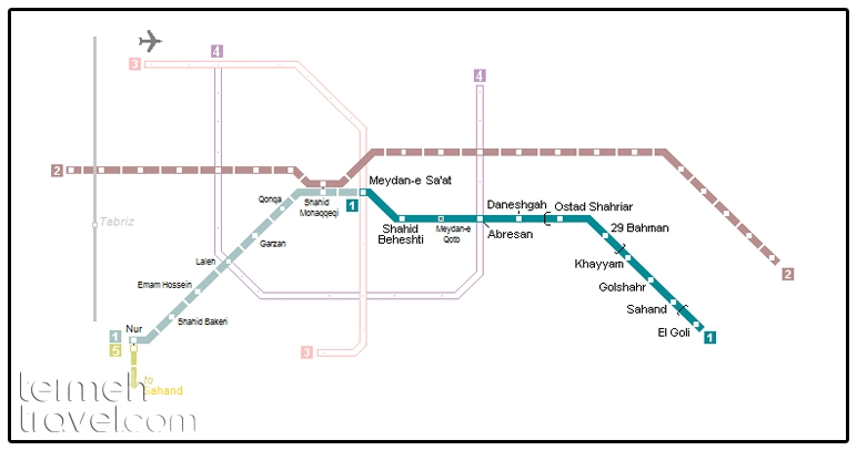 Tabriz Metro's Map- Termeh Travel