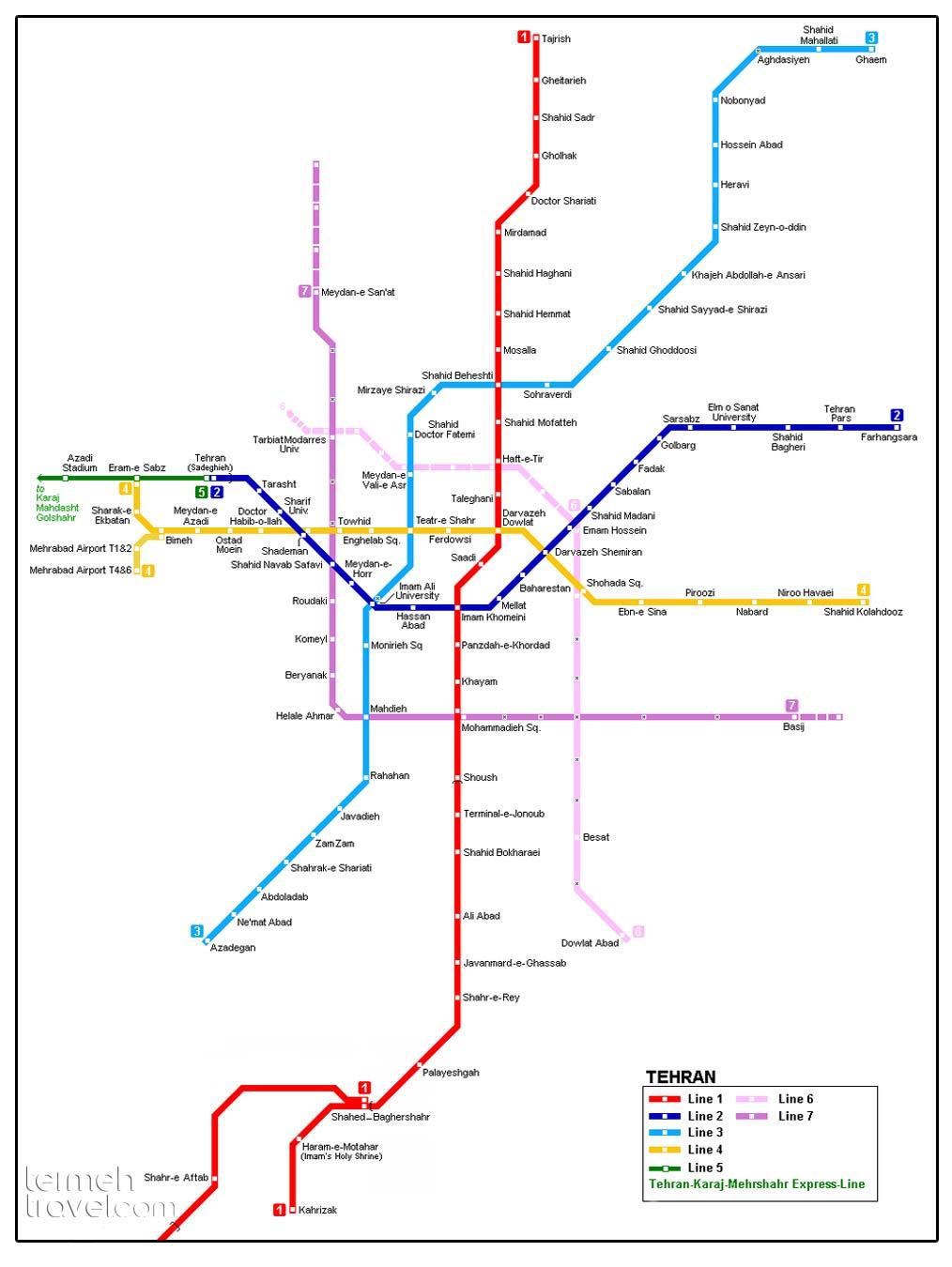 Tehran Metro's Map- Termeh Travel