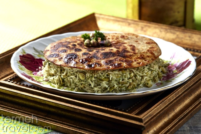Herb and Rice Tahdig- Termeh Travel