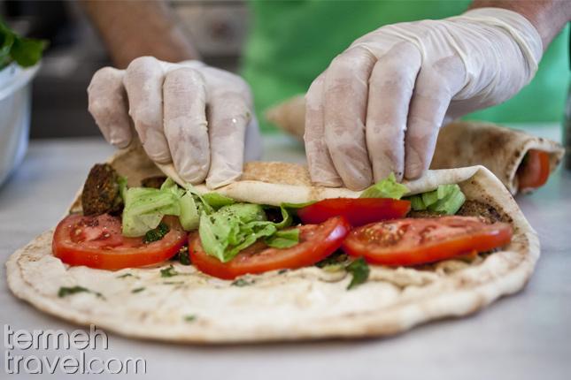 Persian Falafel being wrapped- Termeh Travel