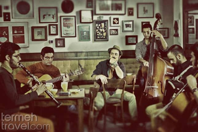 The members of pallet band sitting in a cafe- Persian Music Bands- Termeh Travel