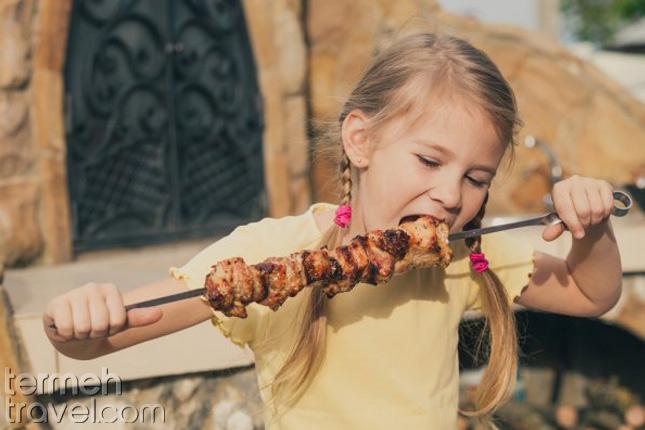 a kid having kebab-Persian Restaurants Near Me- Termeh Travel