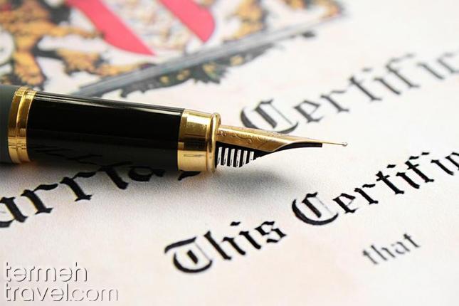 Marriage certificate- Termeh Travel